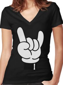 COOL FINGERS Women's Fitted V-Neck T-Shirt