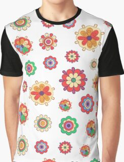 colorful flowers on white background Graphic T-Shirt