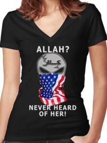never heard of her Women's Fitted V-Neck T-Shirt