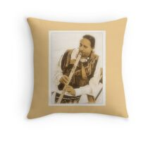 """""""Native American Indian on Flute""""... prints and products Throw Pillow"""