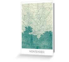 Montevideo Map Blue Vintage Greeting Card