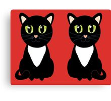 Two Black and White Cats Canvas Print
