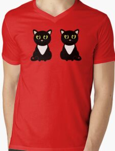 Two Black and White Cats Mens V-Neck T-Shirt