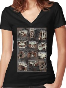 Vintage cameras Women's Fitted V-Neck T-Shirt