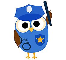 Professions Owl Police Officer Policeman Photographic Print