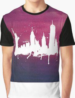 New York Watercolor Skyline Graphic T-Shirt