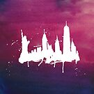 New York Watercolor Skyline by Anastasiia Kucherenko