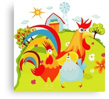 Farm Animals Roosters On the Farm Canvas Print