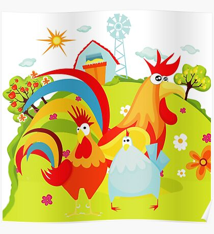 Farm Animals Roosters On the Farm Poster