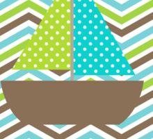 Polka Dotted Sailboat on Chevron Stripes  Sticker