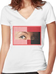 Black and Red Women's Fitted V-Neck T-Shirt