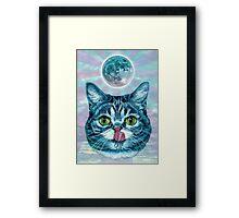 Kittens love moon Framed Print