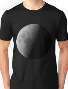 Black and White Moon on Black Background Waning Quarter Phase of the Moon Unisex T-Shirt