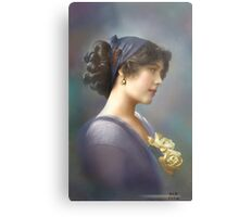 Colorized Vintage Young Beauty V Metal Print