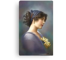 Colorized Vintage Young Beauty V Canvas Print