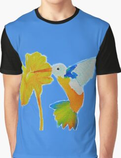 Hummingbird and flower watercolor painting Graphic T-Shirt