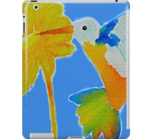 Hummingbird and flower watercolor painting iPad Case/Skin