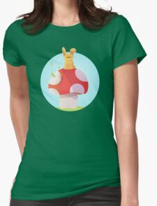 Cute Bunny and Mushroom Design Womens Fitted T-Shirt