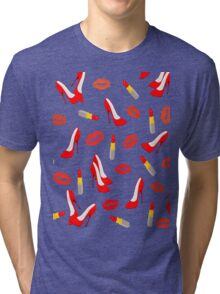 Red Shoes, Lipstick and Kisses. Tri-blend T-Shirt