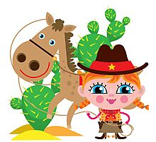 Western Theme Cowgirl With Horse Photographic Print