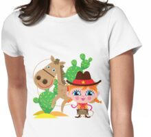 Western Theme Cowgirl With Horse Womens Fitted T-Shirt