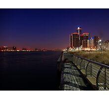 Detroit at nightt Photographic Print