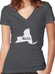 New York Home NY Made NYC  Women's Fitted V-Neck T-Shirt