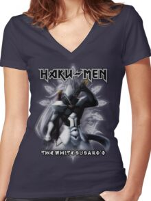 Haku-men - The White Susano'o Women's Fitted V-Neck T-Shirt