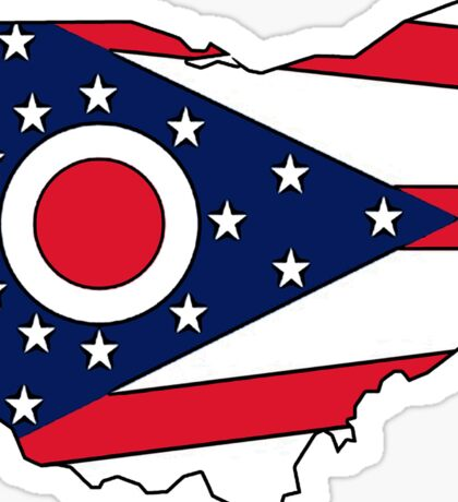 Ohio flag state outline Sticker