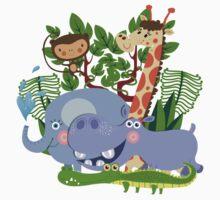 Kids Safari Animals Elephant Giraffe Hippo One Piece - Long Sleeve