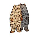 Two cute Bears, brown and grey by Mary Taylor