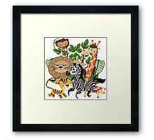 Wild Animals Zoo Animals Giraffe Zebra Lion Framed Print