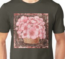 Basket With Pink Flowers Unisex T-Shirt