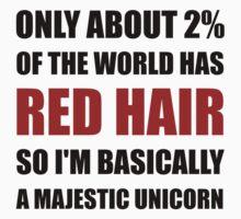 Red Hair Majestic Unicorn One Piece - Short Sleeve