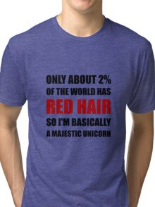Red Hair Majestic Unicorn Tri-blend T-Shirt