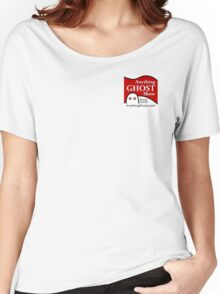 Anything Ghost Black and Red Logo Women's Relaxed Fit T-Shirt