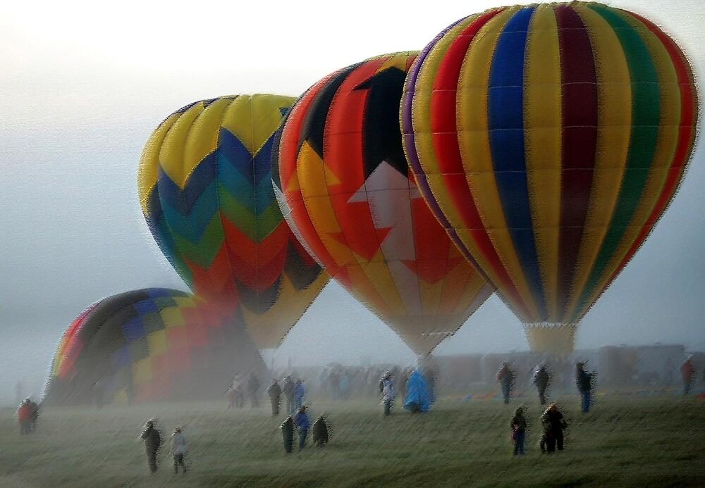 Balloons in the Mist  by John  Kapusta
