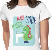 Wash Your Hands Cute Dinosaur Womens Fitted T-Shirt