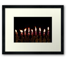 Purple Hanukkah Candles Menorah on Black Background Framed Print