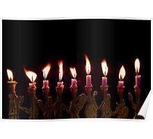 Purple Hanukkah Candles Menorah on Black Background Poster