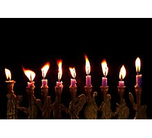 Purple Hanukkah Candles Menorah on Black Background Photographic Print