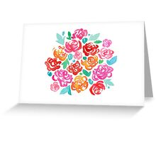 Peony & Roses on White Greeting Card