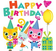 Cute Silly Animals Happy Birthday Photographic Print