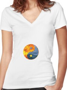 Fire Water Ying Yang Women's Fitted V-Neck T-Shirt