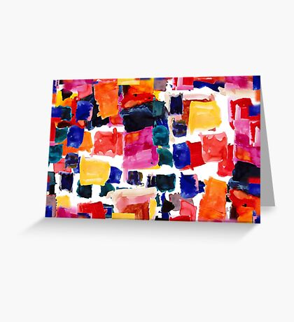 Layered squares by Crystal and Clare Greeting Card