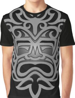 Stylish Gray and Black Mayan Mask Graphic T-Shirt