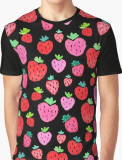 Strawberries on Black Graphic T-Shirt