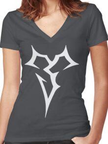 Zanarkand Abes_White Women's Fitted V-Neck T-Shirt