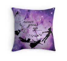 Never Grow Up Peter Pan Violet Nebula Throw Pillow