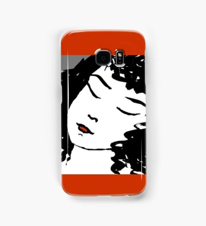 Ink Drawing of sleeping Girl with red frame. Graphic Samsung Galaxy Case/Skin